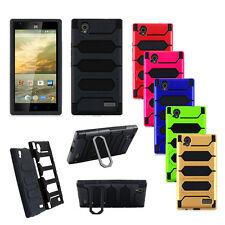 For ZTE Warp Elite/N9518 Hybrid Dual Layer Rugged Rubber Stand Hard Case Cover