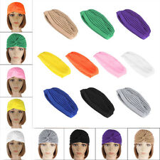 Women Girls Soild Indian Stretchable Turban Hat Cotton Warm Soft Cap Headwrap