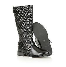 Ladies Military Quilted Fur Knee Length Riding Boots