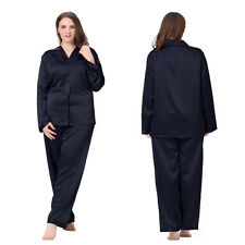 Silk Pajama Set for Women Long 22 Momme 100% Mulberry Silk Sleepwear Plus Size