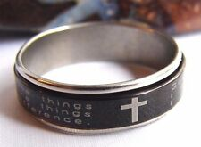 Alcoholics Anonymous AA NA Recovery Sober Serenity Prayer Black Spinner Ring