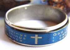 Alcoholics Anonymous AA NA Recovery Sobriety Serenity Prayer Blue Spinner Ring