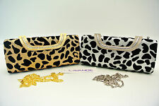 NEW shining diamante Leopard Clutch Chain Handbag Party Bag Purse evening bag