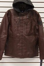 Rocawear Fleece Hooded Leather Look Bomber Jacket Brown  Large XL