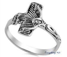 Sterling Silver 925 SIDEWAY CRUCIFIX CROSS CHARM DESIGN RING 14MM SIZES 5-10