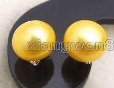SALE Small 10-11mm Natural Gold Freshwater Flat Round Pearl stud Earring-ear286