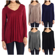 Fashion Womens V-Neck A-Line Tunic Long Sleeve Loose Top Blouse T-Shirt Plus USA