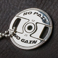 """WEIGHT PLATE NECKLACE  """"No Pain No Gain"""" CROSSFIT BARBELL SILVER PENDANT BARBELL"""