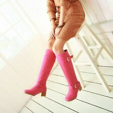 Z Women Mid Block Heel Knee High Round Toe Faux Suede Buckle Pull On Boots Shoe