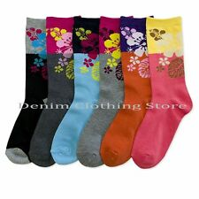 6~24 Women Socks Tropical Flowers Big Block Colors Crew Length Wholesale Lot