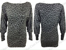 NEW WOMENS LADIES LEOPARD PRINT LONG BATWING SLEEVE TOP TUNIC CASUAL BAGGY LOOK