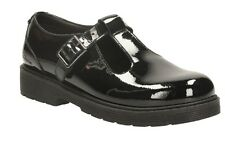 PURLEY GO JNR GIRLS CLARKS BLACK PATENT LEATHER T-BAR BUCKLE SCHOOL SHOES SIZE