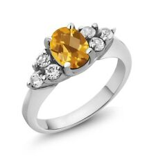 1.43 Ct Oval Checkerboard Yellow Citrine 18K White Gold Ring