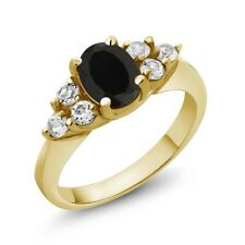 1.49 Ct Oval Black Onyx White Topaz 18K Yellow Gold Ring