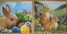4 sets paper napkins,Easter bunny,rabbit,duck,eggs,serviette,33cm-2pcs,decoupage
