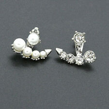 Pretty Women Girls Pearl Rhinestone Crystal Asymmetric Ear Studs Earrings New