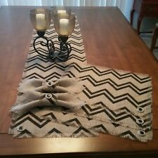 Burlap Chevron Design Table Runners, Placemats, Napkins & Rings w/Button Accent