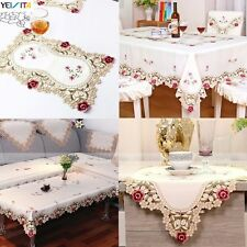 yazi Embroidered Flower Cutwork Tablecloth Table Runner Doily Mat Wedding Party