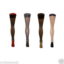 Classic Sheer Deep Lace-Top Contrast Seam & Cuban  Heel Hold-Ups ONE- XL Size-SL