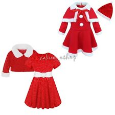 Girls Baby Christmas Santa Claus Fleece Top Dress Shawl Hat Outfit Clothes Sets