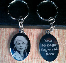 Personalised Photo Engraved Oval Keyring KeyChain Wedding Birthday Xmas Gifts