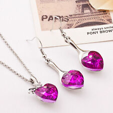 Newest Crystal Rhinestone Heart Pendant Charm Necklace Earrings Jewelry Set Gift