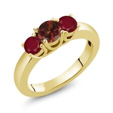 1.15 Ct Round Red Garnet Red Ruby 18K Yellow Gold Plated Silver Ring