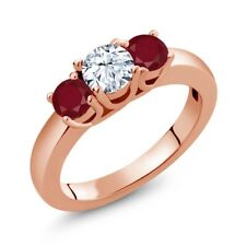 1.10 Ct Round White Topaz Red Ruby 18K Rose Gold Plated Silver Ring