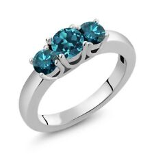 1.04 Ct Round London Blue Topaz Blue Diamond 925 Sterling Silver Ring