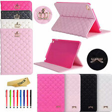 Smart Luxury Bowknot  / Crown PU Leather Slim Case Stand Cover For iPad