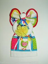 Towel Angel with a Roaster and Beautiful Multi-colored Patch Work With a Flower