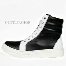 Men's Shoes Street Fashion Lace Up High Top Paneled Leather Sneakers 100,GENTLER