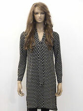 New womens black and white print pussy bow button down shirt dress uk 6-20