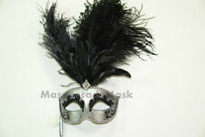 Masquerade Stick Venetian Mardi Gras Costume Feather Mask Dress up birthday prom