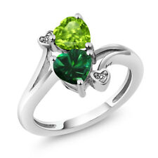 1.54 Ct Heart Shape Green Simulated Emerald Green Peridot 14K White Gold Ring