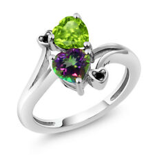 1.81 Ct Heart Shape Green Mystic Topaz Green Peridot 925 Sterling Silver Ring