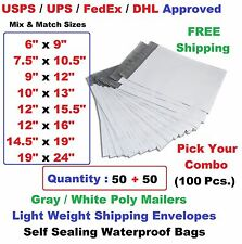 Pick Your Combo 100 (50+50) Poly Mailers Shipping Envelopes Plastic Mailing Bags