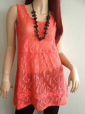 BNWT EVERSUN LADIES ORANGE SLEEVELESS MESH TUNIC TOP SIZE 10 12 14 16 18 20
