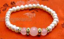 """SALE Beautiful! 6-7mm white Pearl and Round pink natural jade 7.5"""" bracelet-b290"""