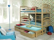 BED BUNK  SOLID PINE CHILDRENS KIDS FURNITURE MATTRESSES AND STORAGE DRAWERS