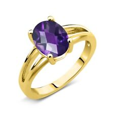 1.50 Ct Oval Checkerboard Purple Amethyst 18K Yellow Gold Solitaire Ring