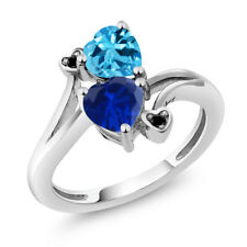 1.78 Ct Blue Simulated Sapphire Swiss Blue Topaz 925 Sterling Silver Ring
