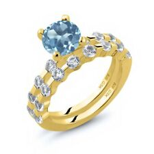 2.68 Ct Round Swiss Blue Topaz White Topaz 18K Yellow Gold Plated Silver Ring