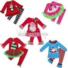 2pcs Vintage Kids Baby Girl Outfit T-shirt Top+Tutu Dress Pants Clothes XMAS Set