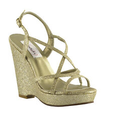 "Gold Glitter 4"" Platform Wedge Women's Prom Wedding Bridesmaid Sandal Shoe"