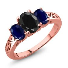 2.76 Ct Oval Black Sapphire Blue Sapphire 18K Rose Gold Plated Silver Ring