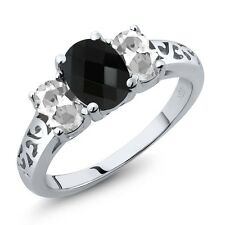 2.12 Ct Oval Checkerboard Black Onyx White Topaz 925 Sterling Silver Ring