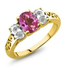 2.30 Ct Oval Pink Mystic Topaz White Topaz 18K Yellow Gold Ring