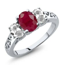2.60 Ct Oval Red Ruby White Topaz 925 Sterling Silver Ring