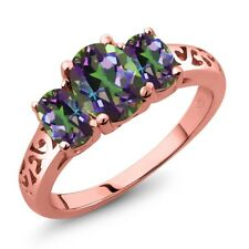 2.30 Ct Oval Green Mystic Topaz 18K Rose Gold Plated Silver Ring